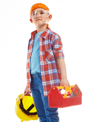 boy construction worker with play tools