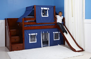 Maxtrix staircase bunk bed with slide in chestnut color