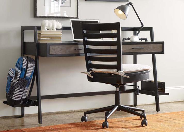 Catalina Swivel Desk Chair - Dark - Bedroom Source