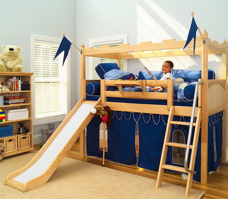 Maxtrix fort loft bed with slide and underbed playhouse tent