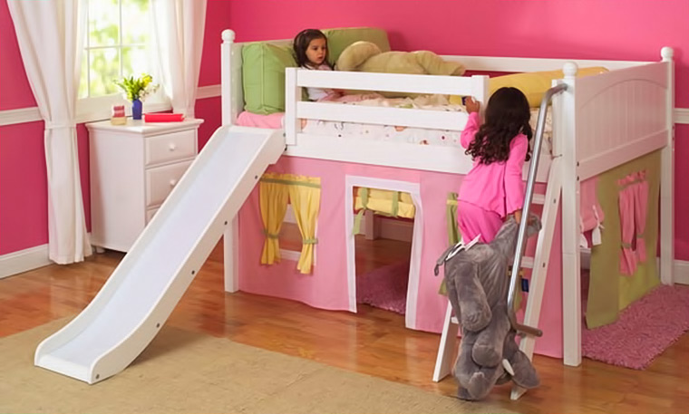 Maxtrix loft bed with slide and curtain