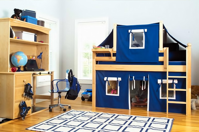 Maxtrix loft bed with top tent and bottom playhouse