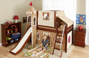Maxtrix low loft castle bed with slide in brown color