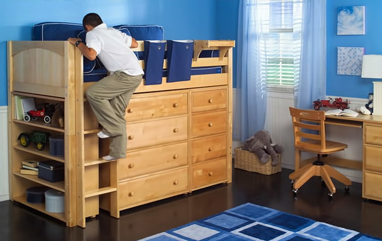 Maxtrix mid size loft bed with dressers and bookshelf built in underneath