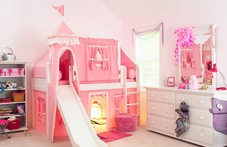 Maxtrix pink princess castle loft bed with slide and tower