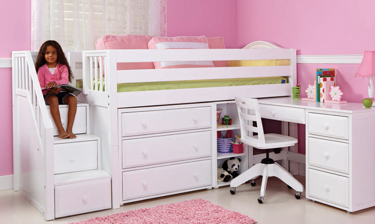 Maxtrix staircase bed for girls with chest and pull out desk
