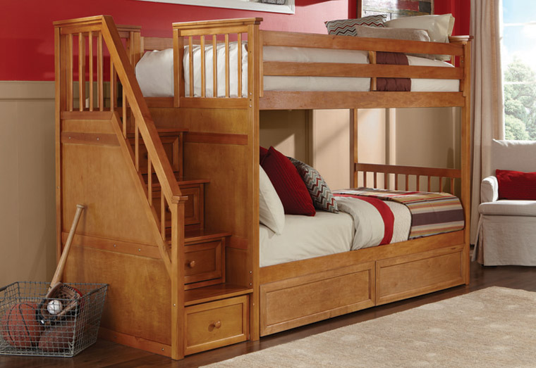 Valley staircase bunk in pecan wood finish